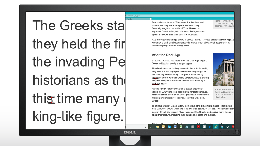 A computer desktop showing the text on a website as magnified.